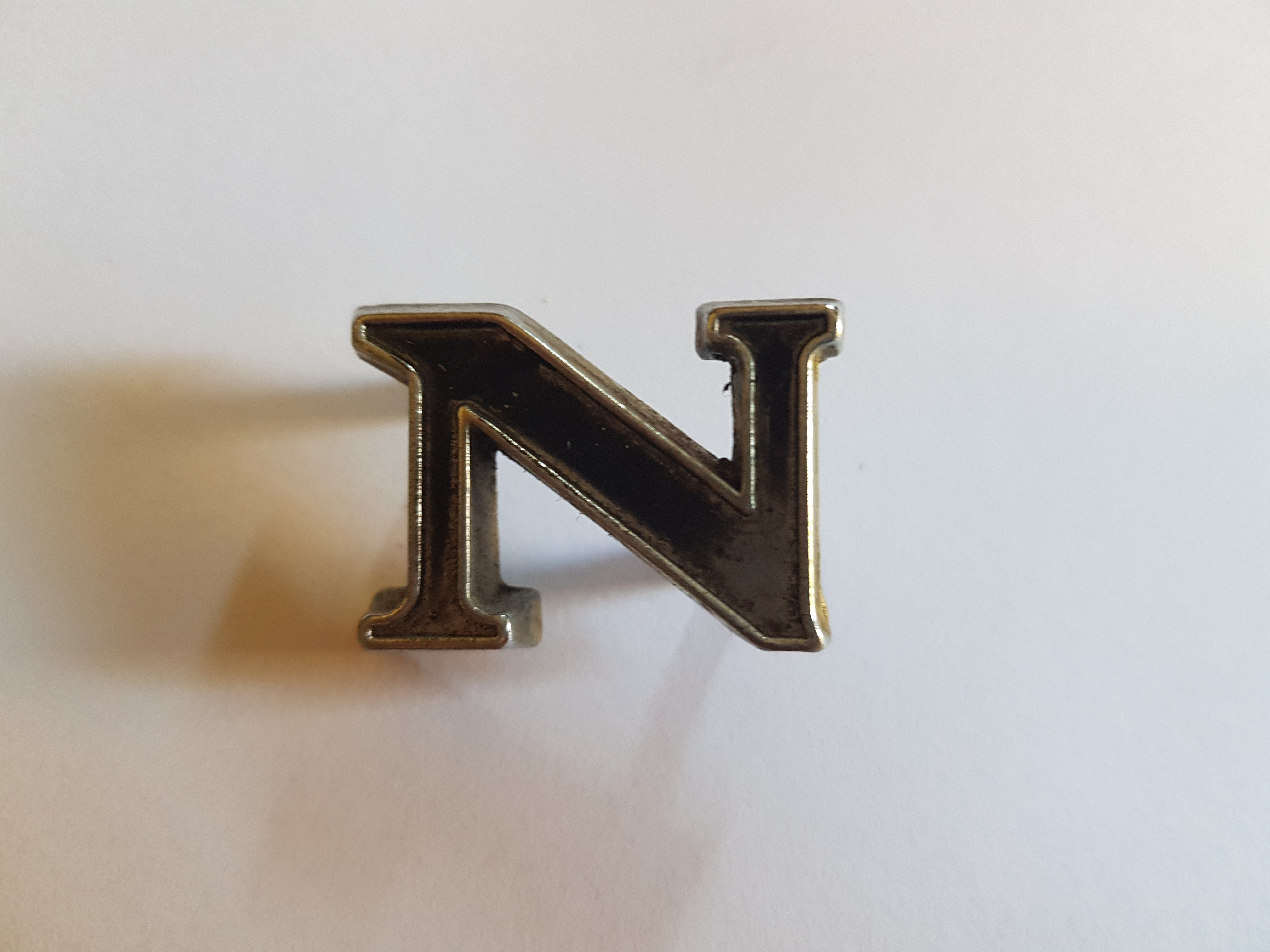 'N' Boot Letter Badge, Salvaged
