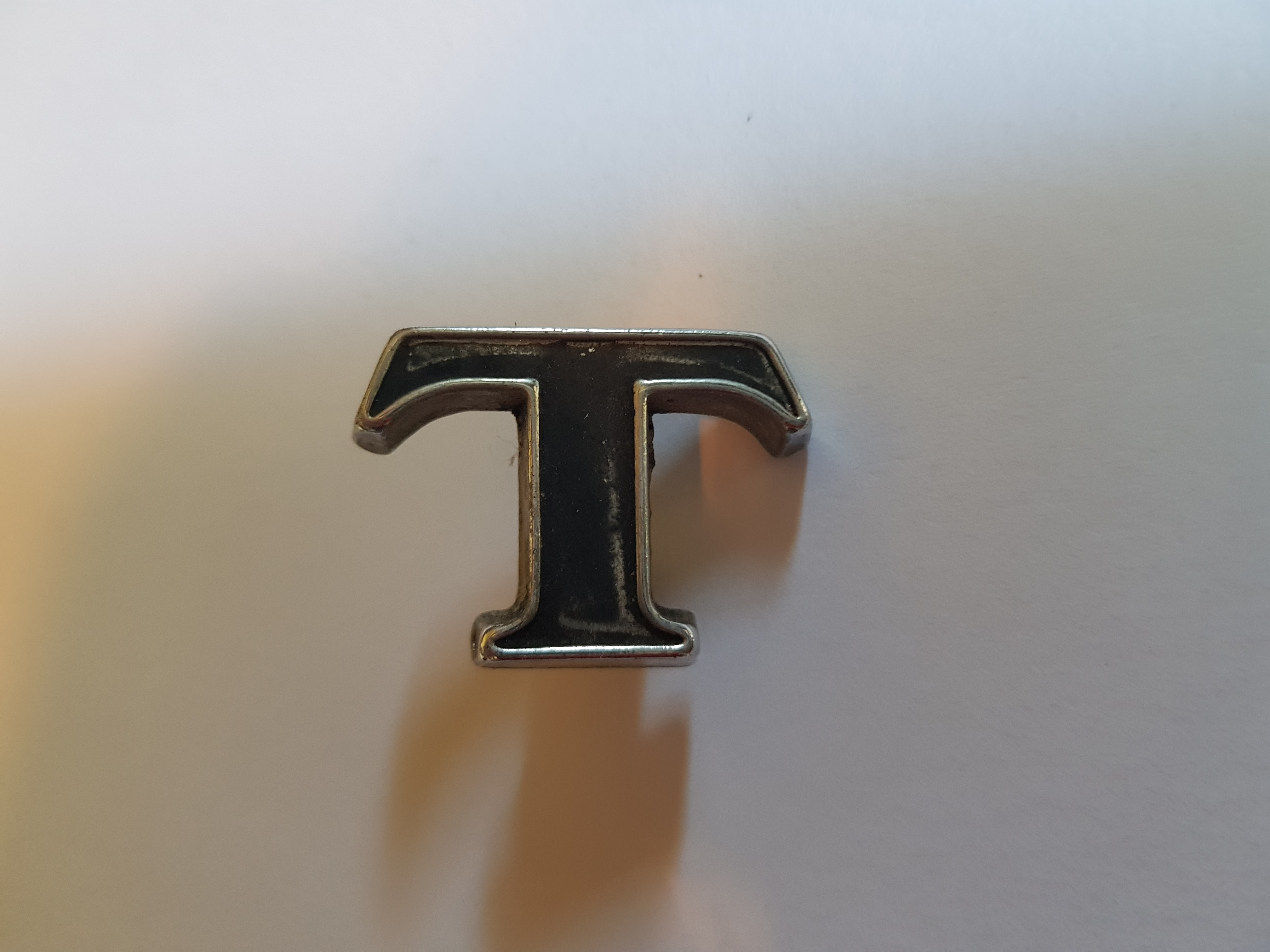 'T' Boot Letter Badge, Salvaged
